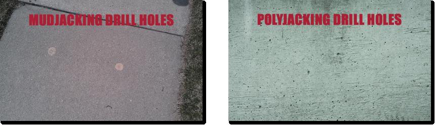 mudjacking hole vs. polyjacking hole
